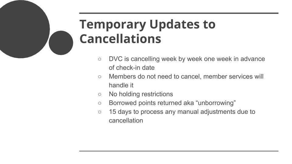 COVID-19 Special DVC Member Rules Overview - Temporary Updates to Cancellations