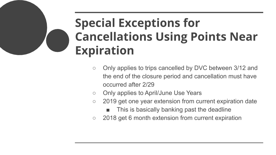 COVID-19 Special DVC Member Rules - Special Exceptions Cancellations Using Points Expiration