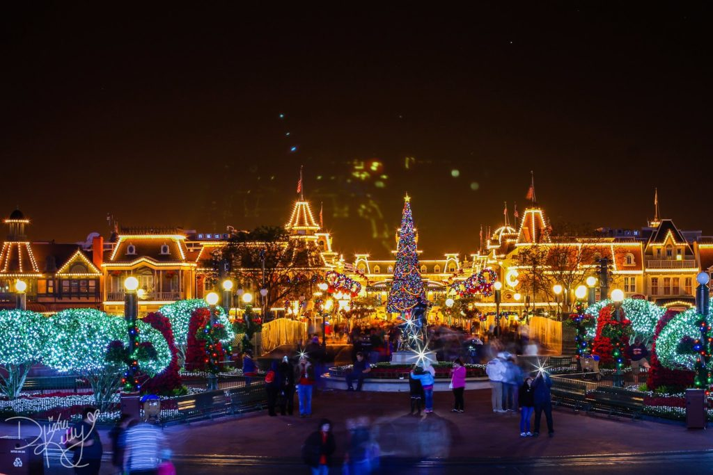 christmas lights glowing brightly at the magic kingdom