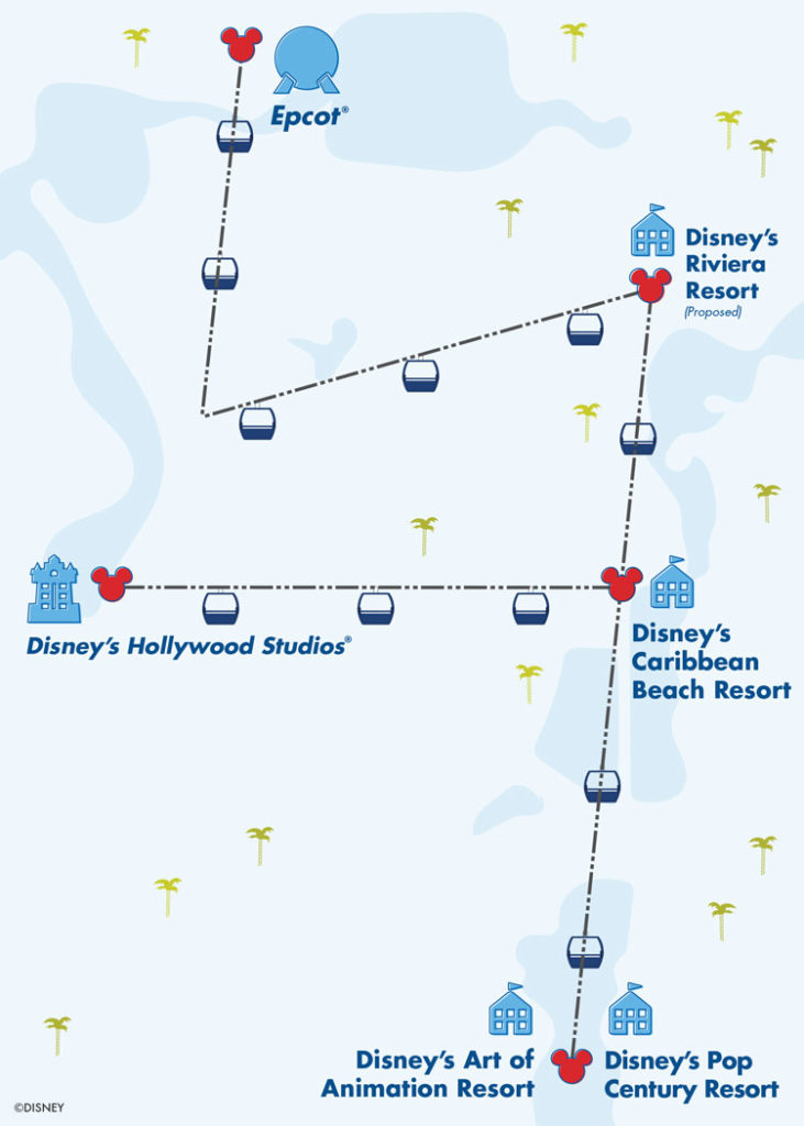 map of the new disney skyliiner gondola trasporation between resorts