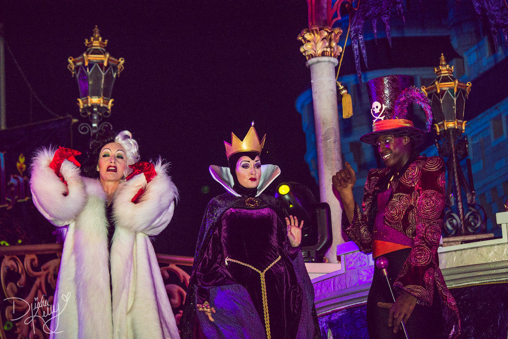 halloween at disney world with malificent and cruella
