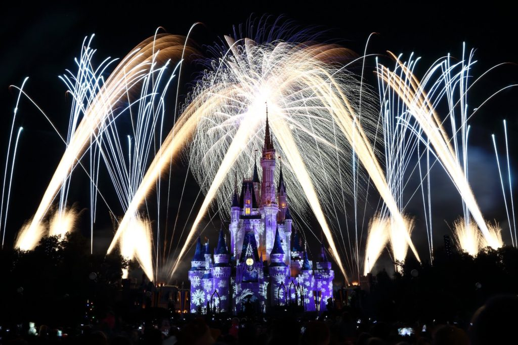 Fireworks being blown off during Mickey's Very Merry Christmas Party