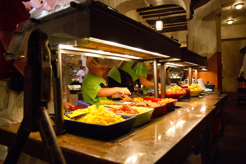 a beautiful spread of delicious food at animal kingdom resort's buffet
