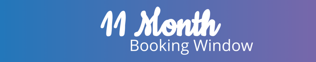 11 month booking window text icon