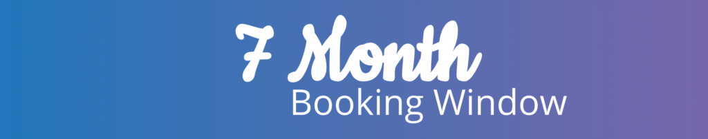 7 month booking window text icon