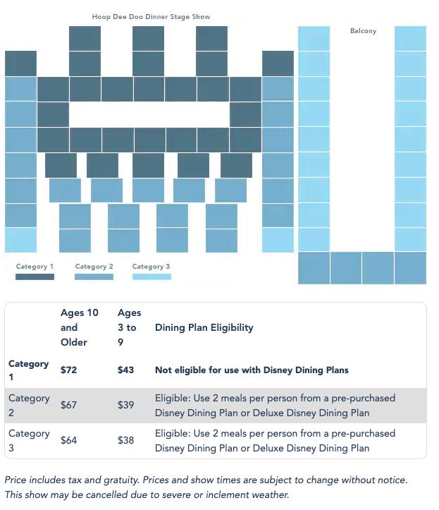 seating chart for hoop de doo at disney
