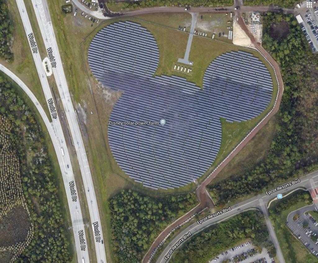 Mickey shaped solar farm opened in 2016 near Epcot.