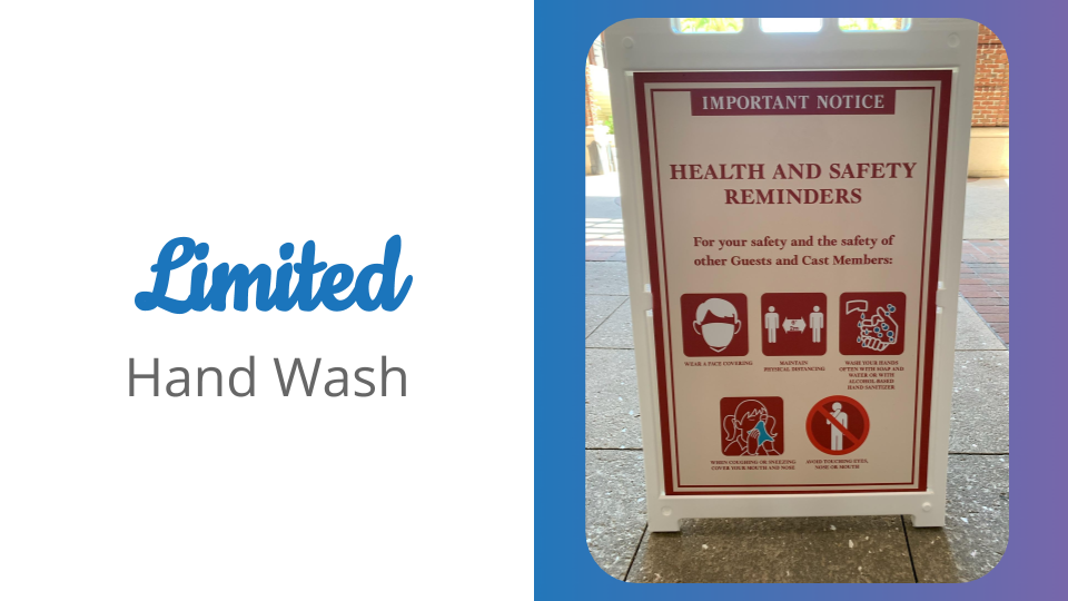 limited hand washing stations at disney springs