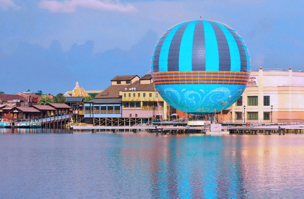 view of Disney Springs attractions from the lake