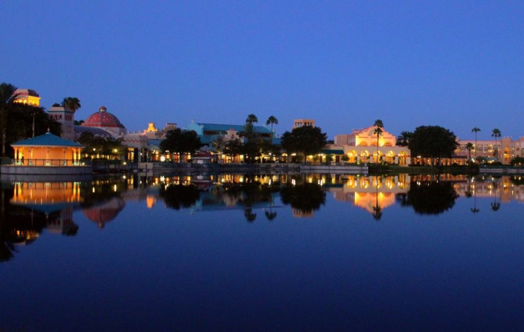 Panorama of Coronado Springs Resort across the lake