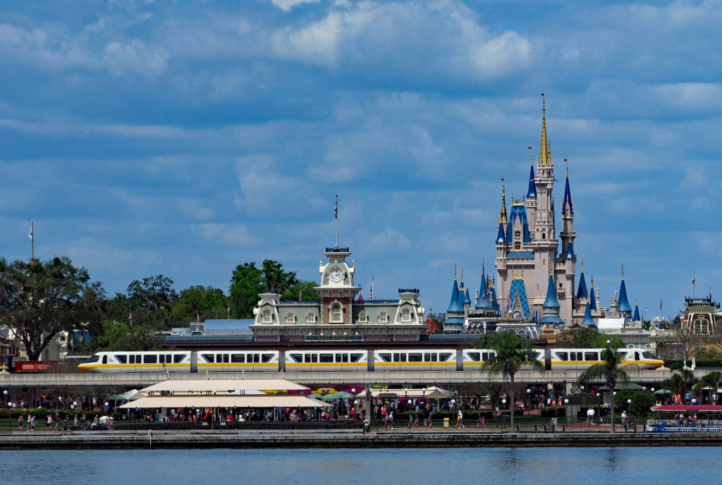 Disney Monorail passing in front of Magic Kindom