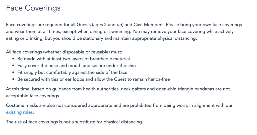 new Disney Parks face covering rules