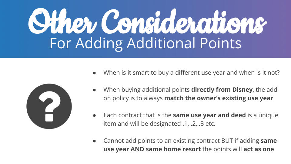 Other Considerations For Adding Additional Points