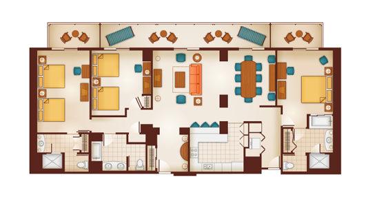 Disney DVC Aulani Hawaii 3 Bedroom Floorplan