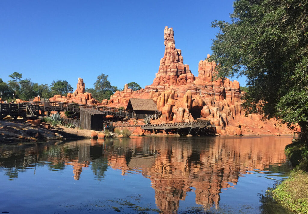 View of Big Thunder Mountain from Tom Sawyer's Island at Disney's Magic Kingdom. Guests are able to use a DAS pass for this popular attraction.