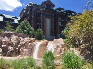 Waterfall in front of DVC Boulder Ridge Resort at Wilderness Lodge