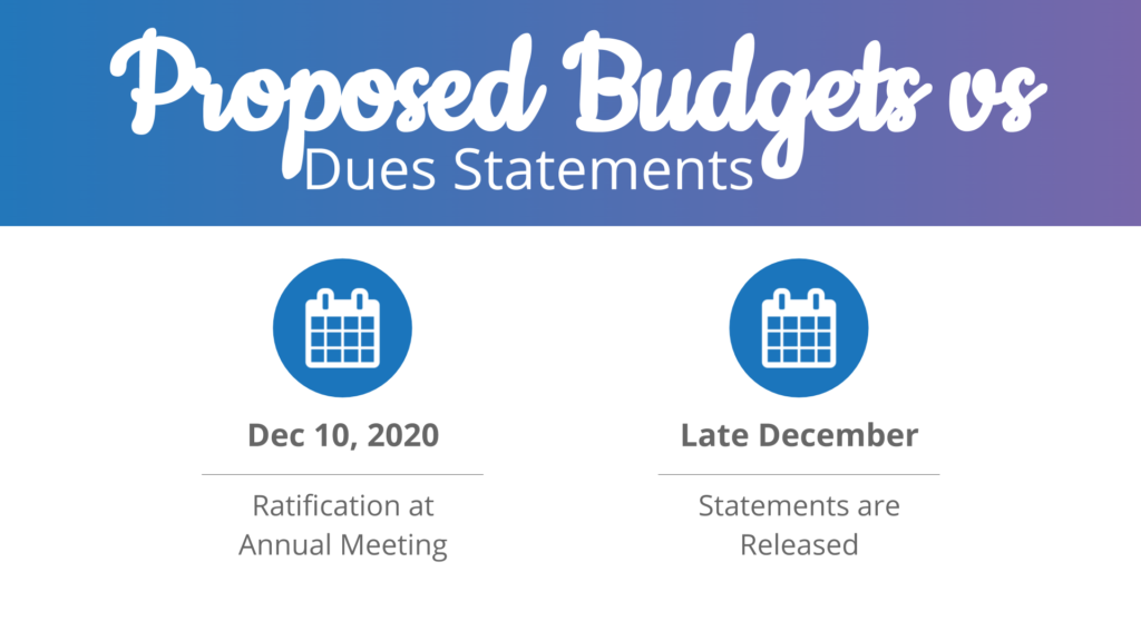 Proposed budgets ratification & dues statements