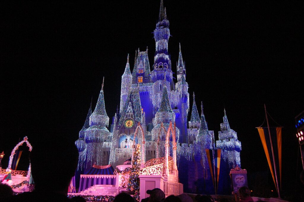 magic kingdom at christmas time