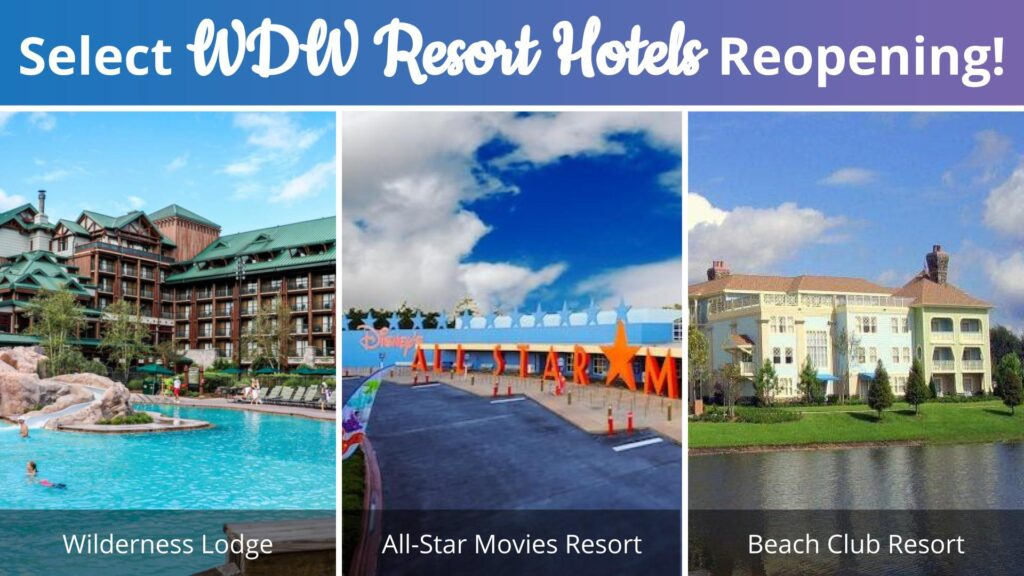 Select Walt Disney World Resort Hotels reopening thumbnail