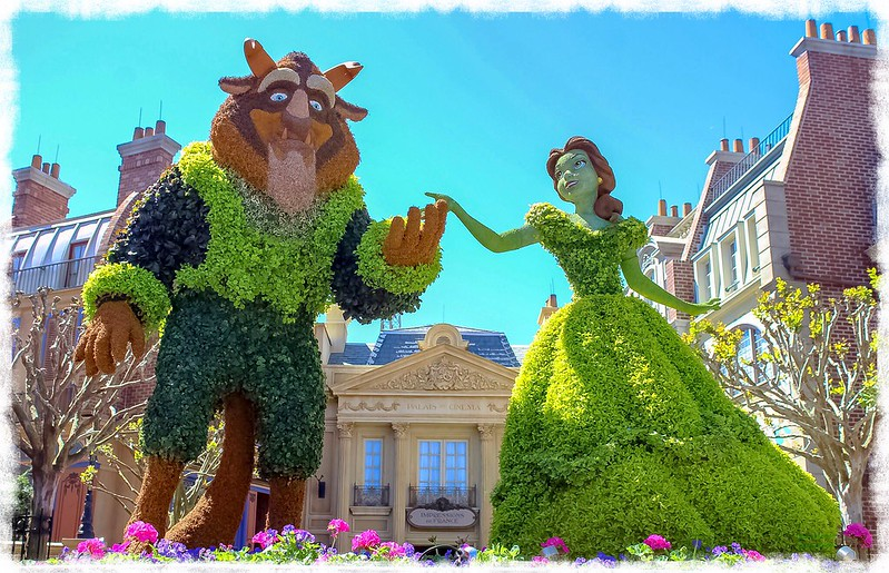 Beauty and the Beast topiary at the 2018 International Flower and Garden Festival