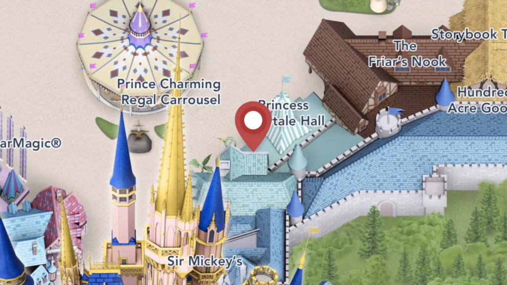 Location to Meet Drizella and Anastasia at Princess Fariytale Hall in Magic Kingdom