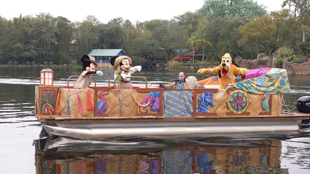 Mickey, Minnie, and Pluto on Boat at Animal Kingdom
