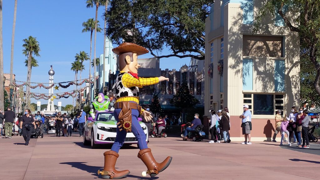 Woody and Buzz Lightyear in Cavalcade at Hollywood Studios