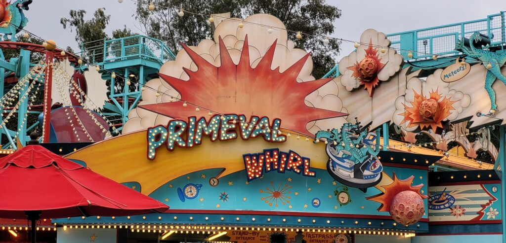 Sign for Primeval Whirl in Dinoland U.S.A.