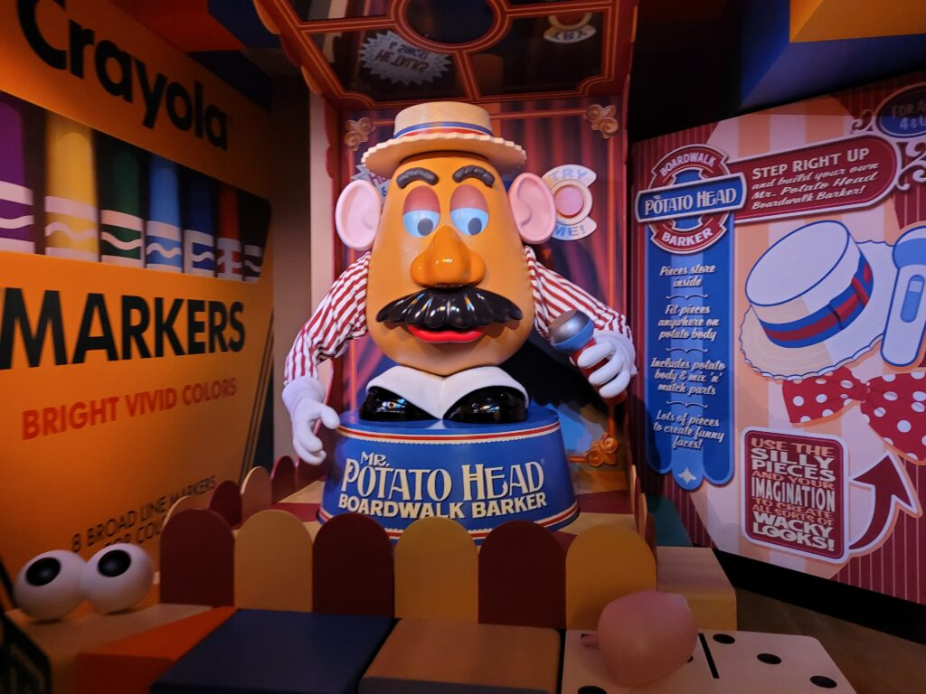 Mr. Potato Head in the Toy Story Mania! Queue