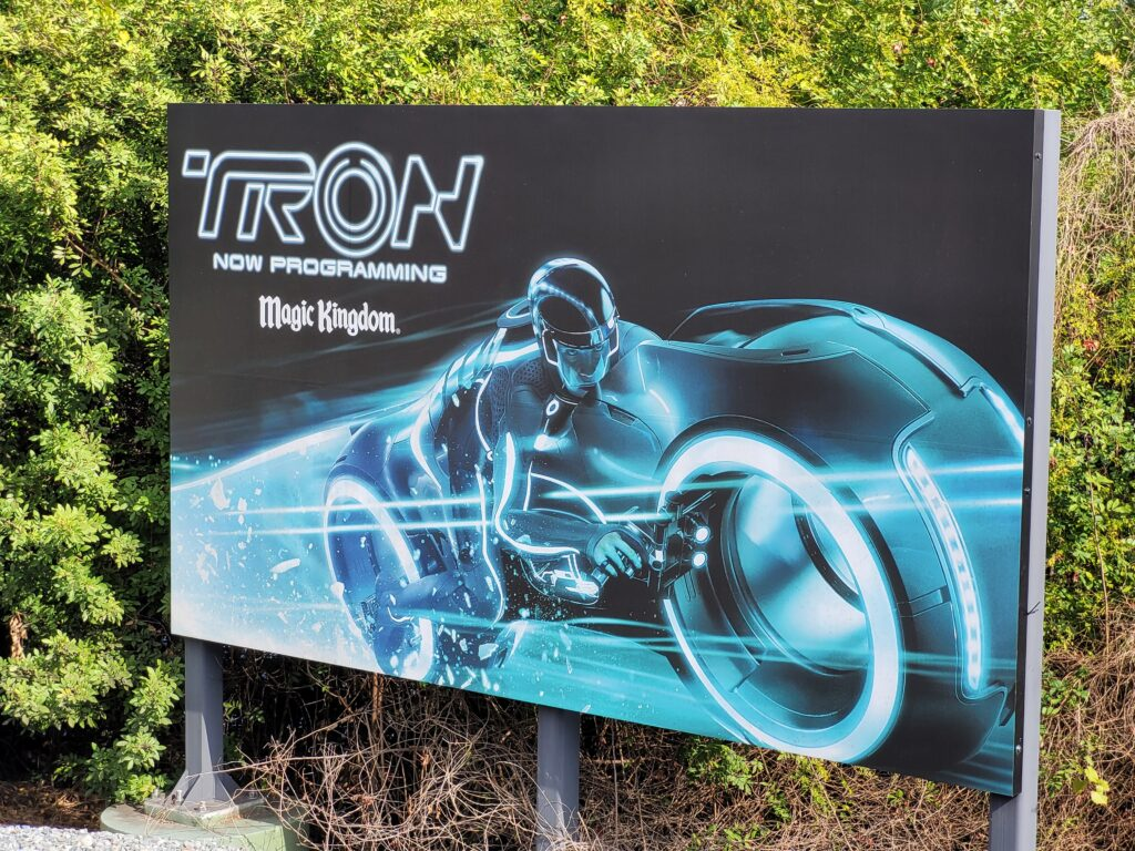 Sign for the upcoming Tron ride at Magic Kingdom