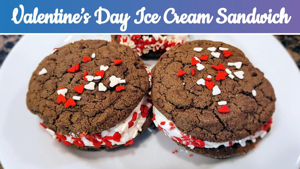 Valentine's Day Chocolate Strawberry Ice Cream Sandwich