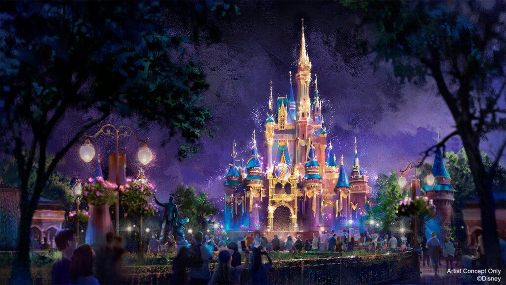 Concept art of the EARidescent Cinderella's Castle for Disney World's 50th Anniversary Celebration.