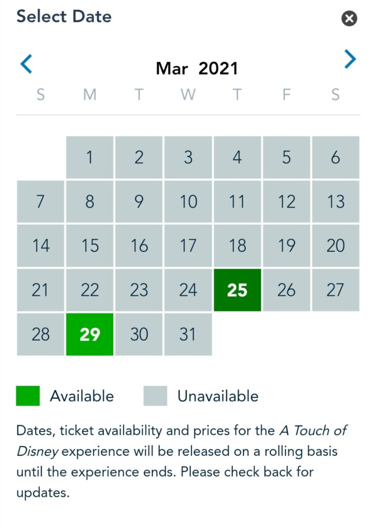 Availability Calendar for A Touch of Disney Event