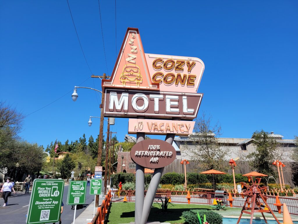 Cozy Cone Motel Sign in Cars Land
