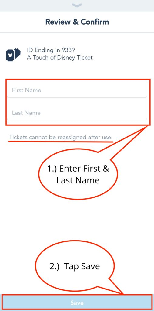 Enter First and Last Name, Then Tap Save Button