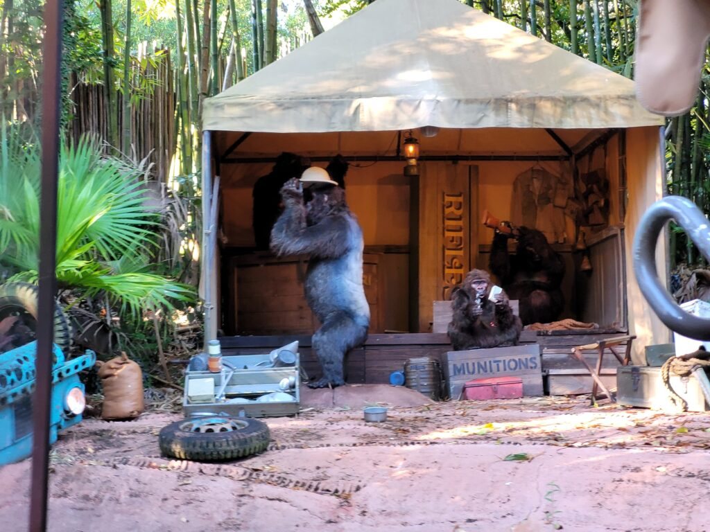 Gorillas Rifle Through Munitions Inside The Jungle Cruise Attraction