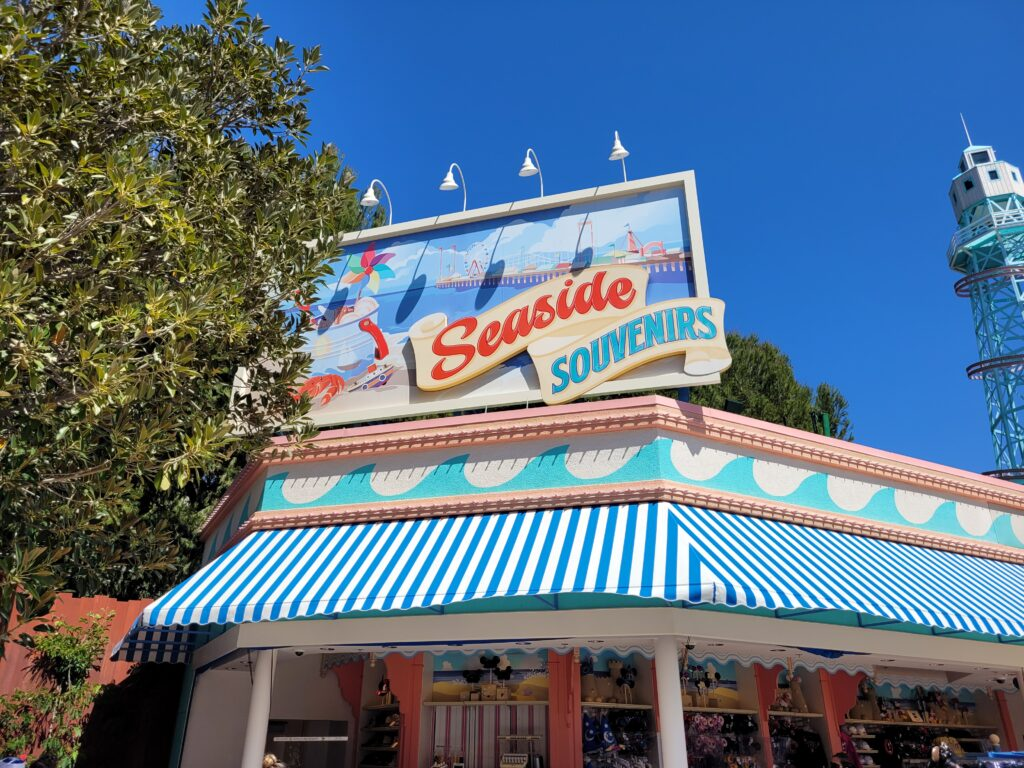 Seaside Souvenirs Sign in Pacific Gardens Park