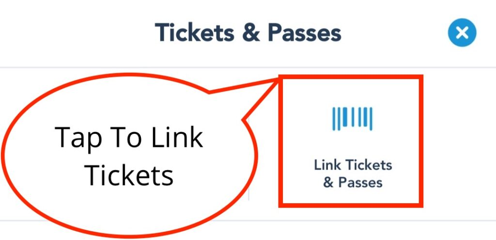 Tap Link Tickets & Passes Button to Start Linking