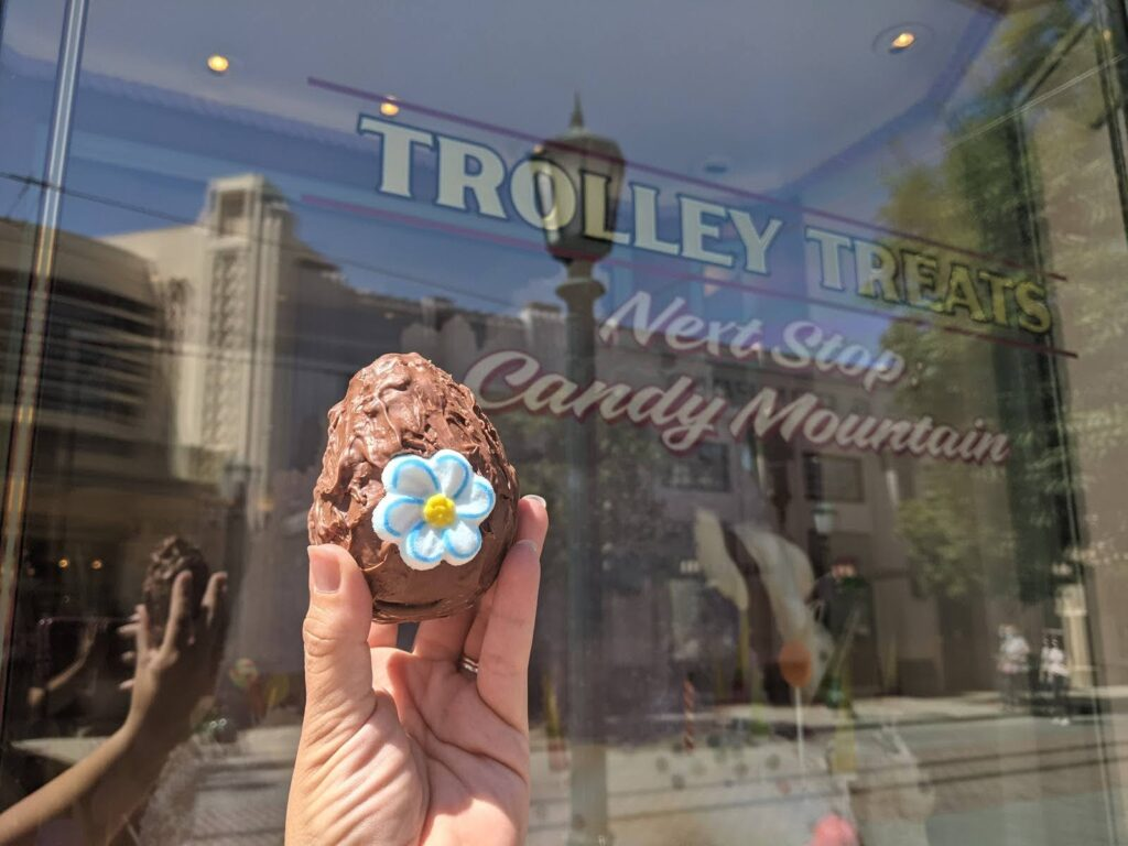 Trolley Treats Sign with Fudge Easter Egg in Buena Vista Street