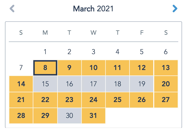 Walt Disney World Availability Calendar - No Availability for March 15-19