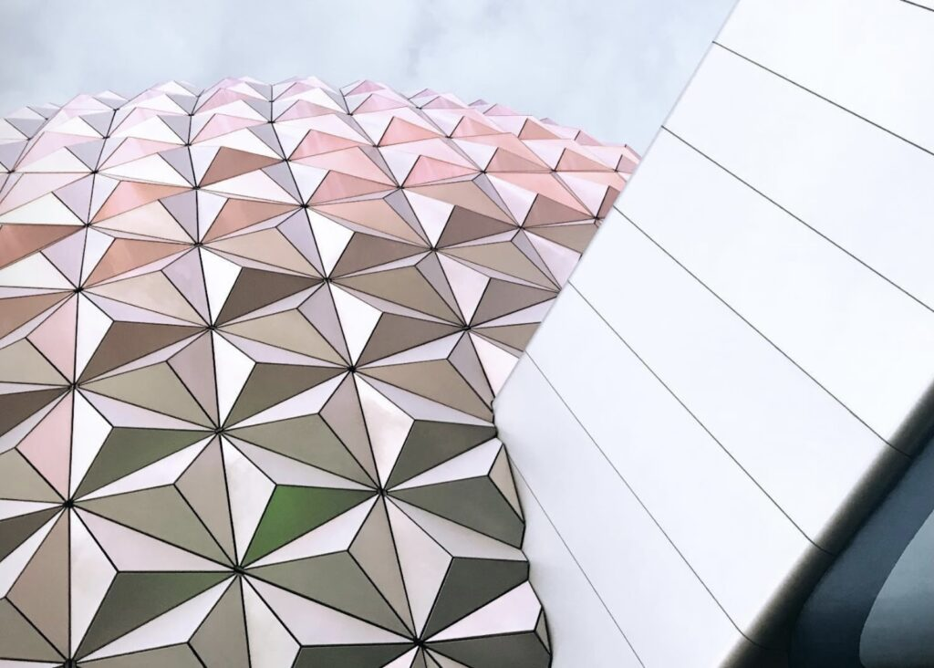 Close up photo of Spaceship Earth tiles, EPCOT