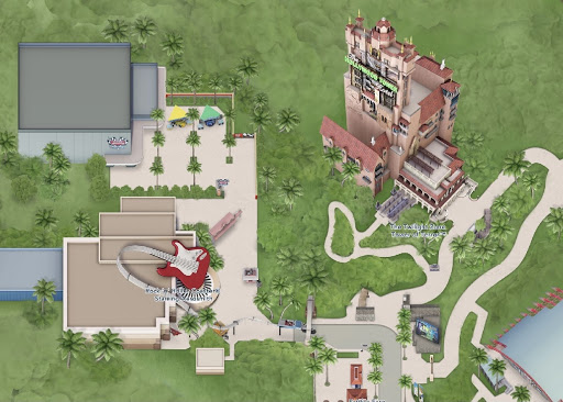 Tower of Terror location map at Disney's Hollywood Studios