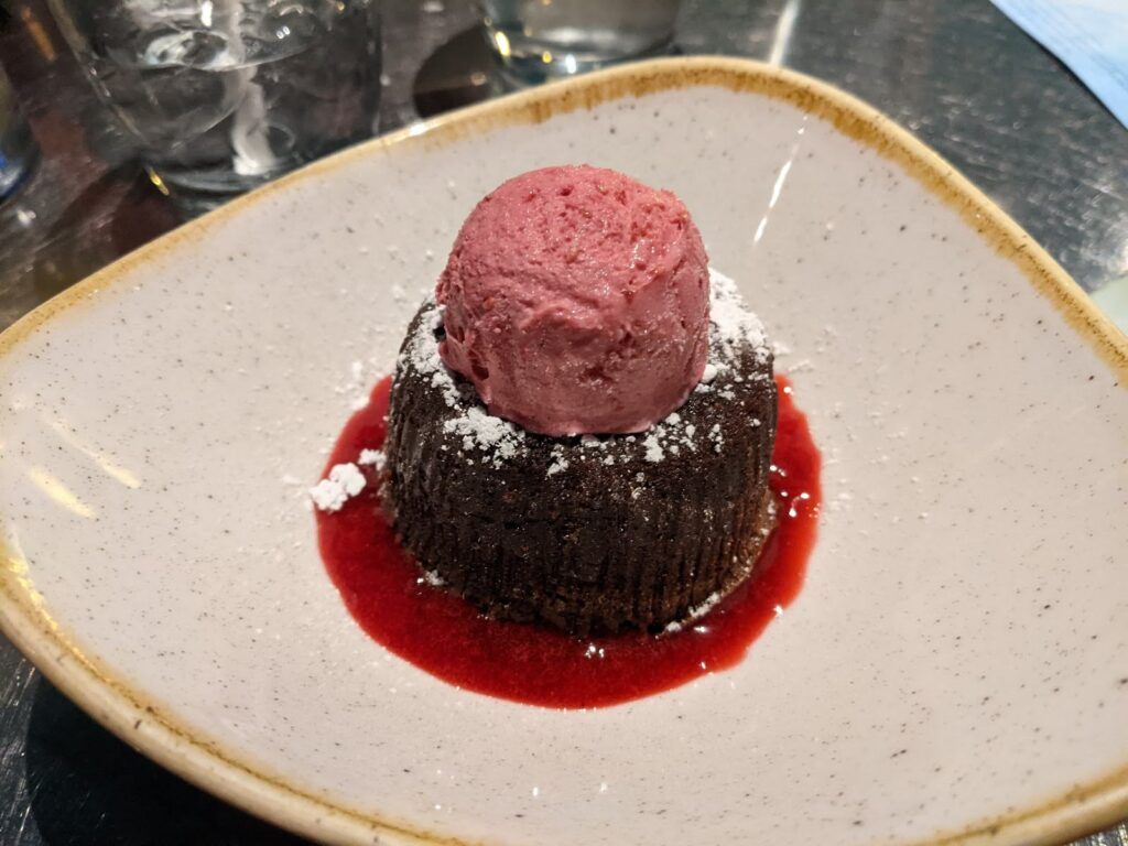 Chocolate Wave Cake Dessert at Coral Reef Restaurant