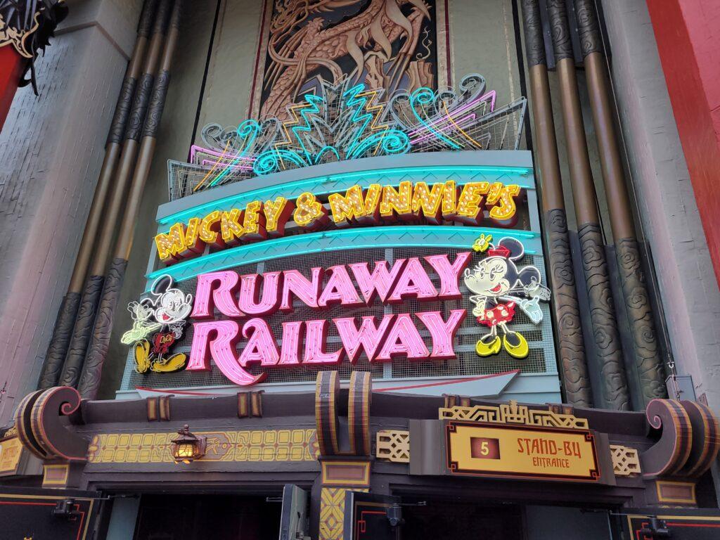 Mickey & Minnie's Runaway Railway Sign
