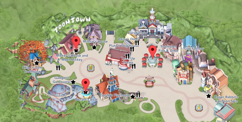 Find in Mickey, Donald Duck, Clarice, Goofy, and Aristocats Mickey's ToonTown - Disneyland