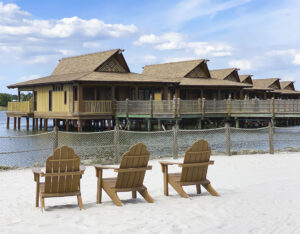 Beach in front of Disney Polynesian Resort Water Bungalows
