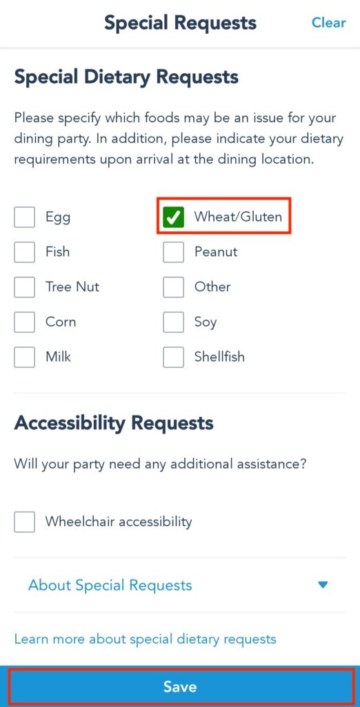 Add a Food Allergy or Request to Dining Reservation at Disney World