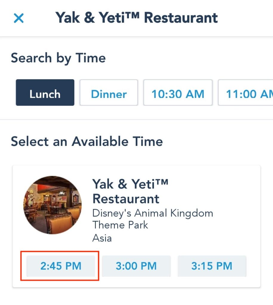 Choose from the Available Reservation Times