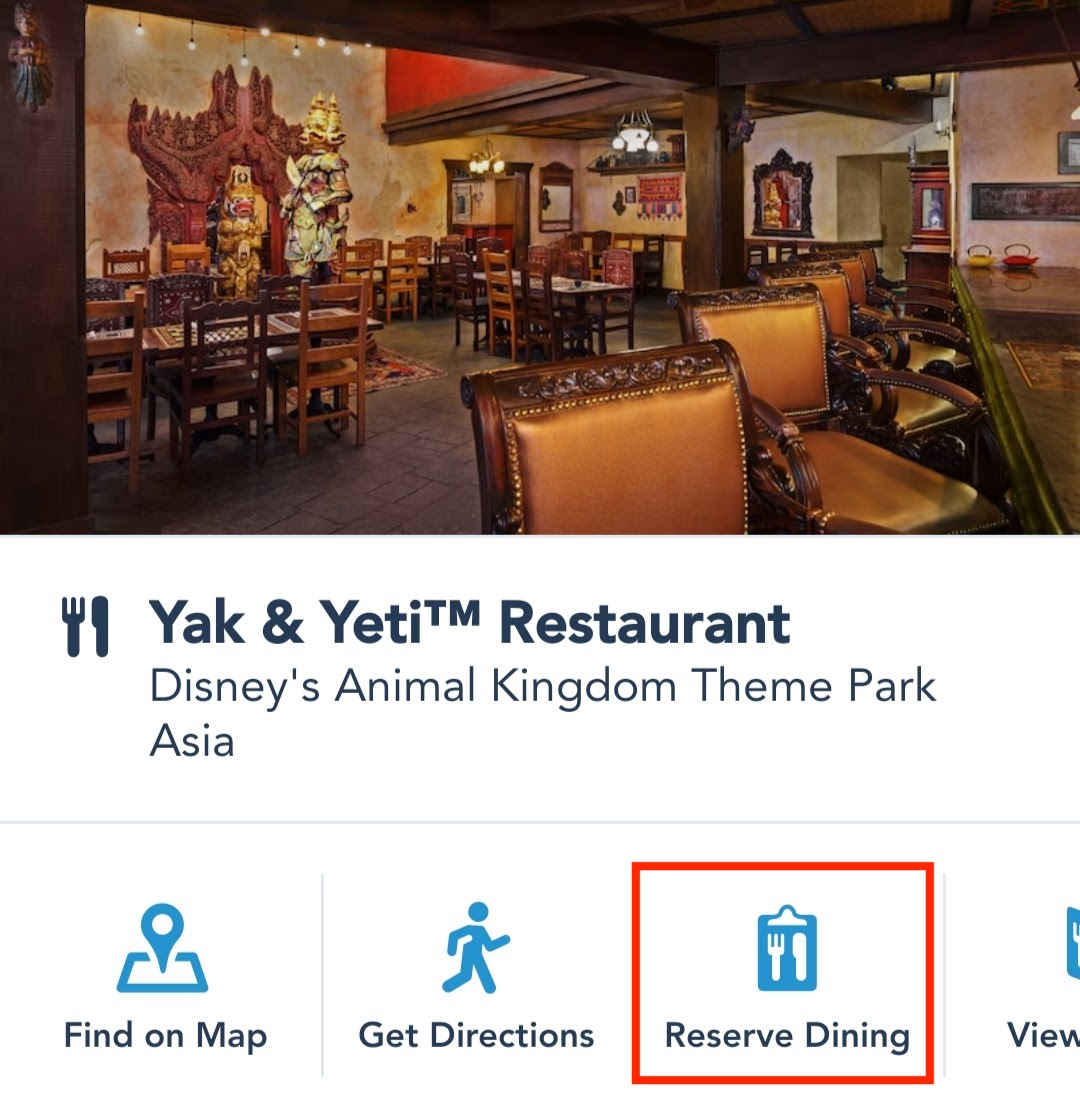 Click on the Reserve Dining button