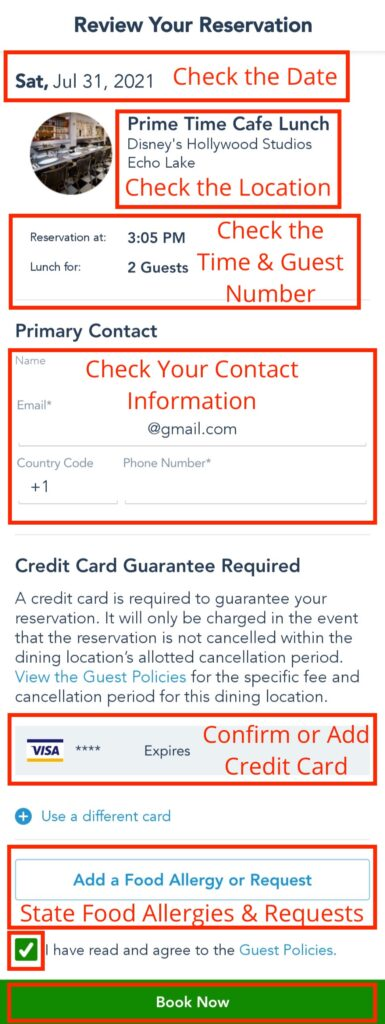 Confirm Reservation Details Before Tapping Book Now Button